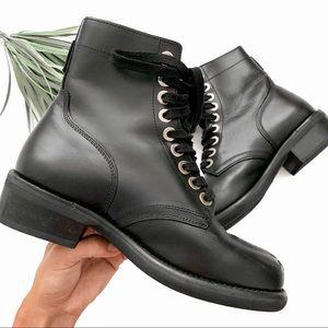 Sandro Paris Combat Biker Leather Boots Black